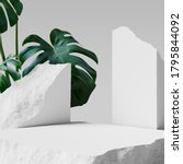 Green leaves and stone slabs product display, white podium and platforms, 3d rendering.