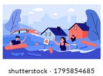 scared people in flooded suburb ... | Shutterstock .eps vector #1795854685