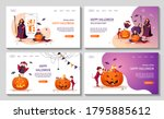 set of web pages for halloween... | Shutterstock .eps vector #1795885612