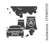 air pollution black glyph icon. ...