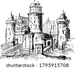anglo saxon feudal castle ... | Shutterstock .eps vector #1795915708