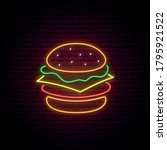 neon burger sign. glowing... | Shutterstock .eps vector #1795921522