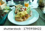 omelette  sausage and bacon on...   Shutterstock . vector #1795958422