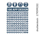 100 app design buttons set ...