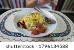 fried rice in white dish on the ...   Shutterstock . vector #1796134588