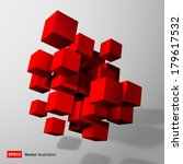 Abstract Composition Of Red 3d...