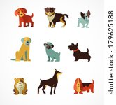 dogs vector set of icons and... | Shutterstock .eps vector #179625188
