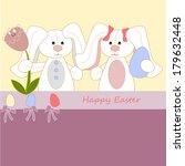 white easter rabbits with eggs | Shutterstock .eps vector #179632448