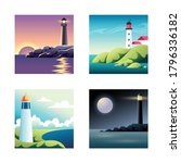 set of illustrations with sea... | Shutterstock .eps vector #1796336182