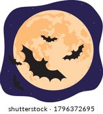 silhouette of bats or black... | Shutterstock .eps vector #1796372695