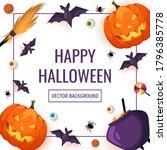 happy halloween card with...   Shutterstock .eps vector #1796385778