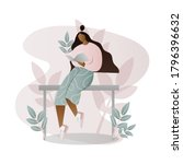 girl reading a book  studying ... | Shutterstock .eps vector #1796396632