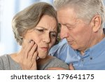 ill senior couple on a blue...   Shutterstock . vector #179641175
