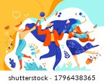 men and women celebrate and... | Shutterstock .eps vector #1796438365