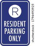 resident parking only sign  ... | Shutterstock .eps vector #1796493925