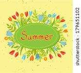 vintage set of flowers  ribbons ... | Shutterstock .eps vector #179651102