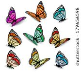 Stock vector set of realistic colorful vector butterflies 179656598