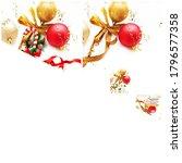 christmas red gold ball green... | Shutterstock . vector #1796577358