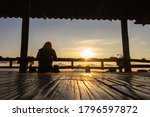 Silhouette Of Tourist On Wooden ...
