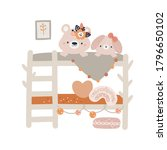cute bear and bunny in bedroom. ... | Shutterstock .eps vector #1796650102