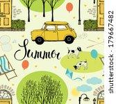 summer street with trees  doors ... | Shutterstock .eps vector #179667482
