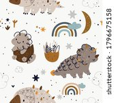 pattern with cute dinosaurs ... | Shutterstock .eps vector #1796675158