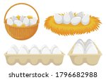 eggs in nest and basket. tray... | Shutterstock .eps vector #1796682988