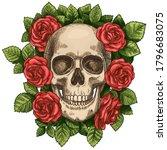 skull and roses. dead skeleton... | Shutterstock .eps vector #1796683075