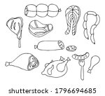 meats doodle icons set in...   Shutterstock .eps vector #1796694685
