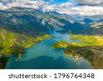 The Stunning Lakes of Albania. Aerial view.