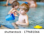 activities on the pool  toddler ... | Shutterstock . vector #179681066