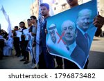 Small photo of Palestinians participate in a protest against the agreement to establish diplomatic ties between Israel and the United Arab Emirates Sponsored by U.S, in Gaza Strip, on 16 August 2020.