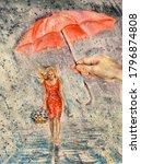 Watercolor woman walk under umbrella during heavy rain. Rainy weather, puddles. Design element. - stock photo