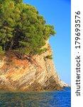 Small photo of Abrupt rocks on Mediterranean coast line