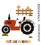 poster with farm tractor  ... | Shutterstock .eps vector #1796943508