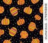 hand drawing autumn pumpkin... | Shutterstock .eps vector #1796948848