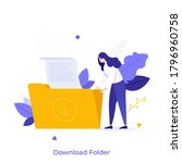 woman holding folder with...   Shutterstock .eps vector #1796960758