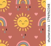 seamless pattern with baby sun... | Shutterstock .eps vector #1796962348