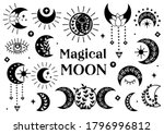 set of isolated black magical... | Shutterstock .eps vector #1796996812