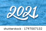 happy new year 2021. paper 3d... | Shutterstock .eps vector #1797007132