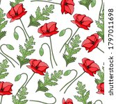 Vintage Poppy Seamless Pattern  ...
