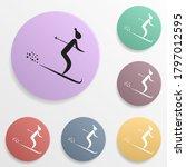 basketball badge color set icon....