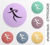 rugby badge color set icon....