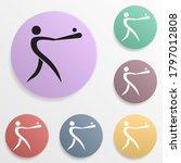 baseball badge color set icon....