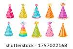 birthday hat party cap flat set.... | Shutterstock .eps vector #1797022168