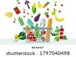 food basket vector flat icons... | Shutterstock .eps vector #1797040498