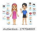 kid boy and girl body part ... | Shutterstock .eps vector #1797068005