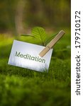 the word meditation on paper... | Shutterstock . vector #179710172