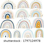 pastel stylish trendy rainbows... | Shutterstock .eps vector #1797124978