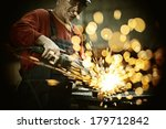 industrial worker cutting and... | Shutterstock . vector #179712842